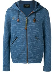 Mr And Mrs Italy Camouflage Pattern Hooded Jacket Blue