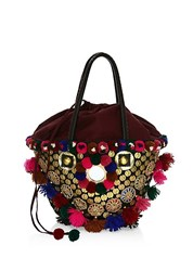 Figue Frida Tuk Tuk Embellished Top Handle Bag Black Multi