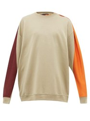 Y Project Colour Blocked Cotton Jersey Sweatshirt Khaki