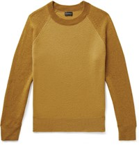 Club Monaco Garment Dyed Colour Block Wool Sweater Yellow