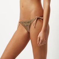 River Island Womens Light Brown Embellished String Bikini Bottoms