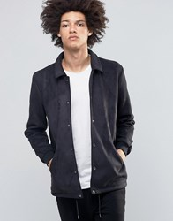 Asos Faux Suede Coach Jacket In Black Black