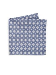Saks Fifth Avenue Collection Medallion Houndstooth Pocket Square Blue Brown
