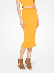 Michael Michael Kors Ribbed Stretch Viscose Pencil Skirt Yellow