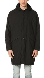 Ones Stroke Hooded Flannel Coat Black