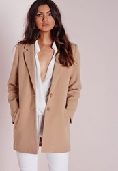 Missguided Short Faux Wool Coat Camel