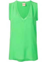 Nude V Neck Top Green