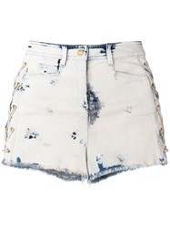 Balmain Bleached Lace Up Denim Shorts Blue