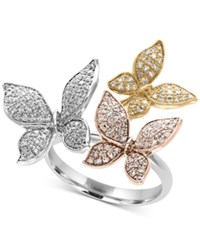 Effy Trio By Diamond Pave Butterfly Ring 5 8 Ct. T.W. In 14K Yellow White And Rose Gold Tri Tone