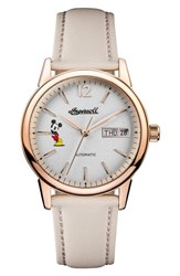 Ingersoll Watches Women's New Haven Disney Automatic Leather Strap Watch 34Mm Nude White Rose Gold