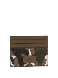 Valentino Camouflage Print Leather And Canvas Cardholder Green Multi