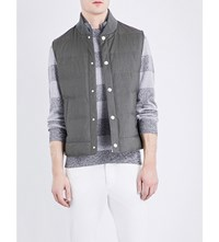 Brunello Cucinelli Quilted Wool And Silk Blend Gilet Army
