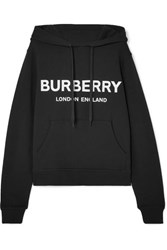 Burberry Printed Cotton Jersey Hoodie Black