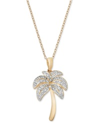 Macy's Diamond Palm Tree Pendant Necklace In 18K Gold Over Sterling Silver And Sterling Silver 1 10 Ct. T.W.