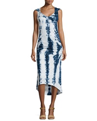 Pink Lotus Hooded Tie Dye Midi Dress Blue White