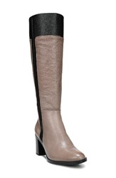Naturalizer Women's Frances Knee High Wide Calf Block Heel Boot Taupe Leather