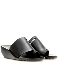 Rick Owens Leather Wedge Sandals Black