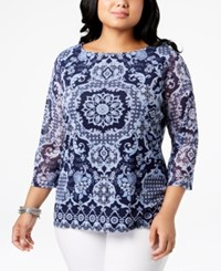 Charter Club Plus Size Printed Mesh Top Intrepid Blue Combo