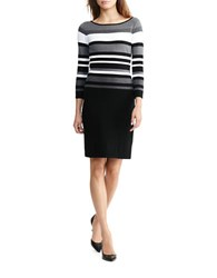 Lauren Ralph Lauren Petite Striped Stretch Cotton Dress Black Grey White