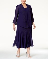 R And M Richards Plus Size Beaded V Neck Dress And Jacket Purple