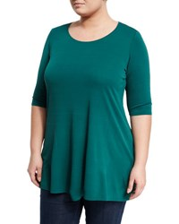 Eileen Fisher Signature Stretch Silk Jersey Tee Green