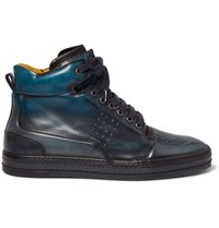 Berluti Burnished Venezia Leather High Top Sneakers Blue