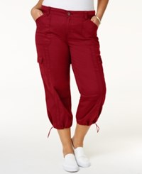 Style And Co Plus Size Capri Cargo Pants Only At Macy's New Red Amore
