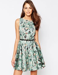 Closet Belted Skater Dress In Large Paisley Print Green
