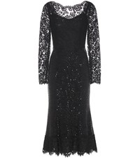 Dolce And Gabbana Embellished Lace Mesh Gown Black