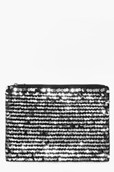 Boohoo Oversized Sequin Clutch Bag Black