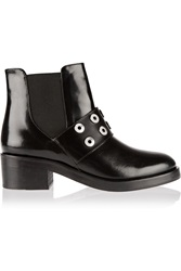 Sandro Glossed Leather Ankle Boots Black