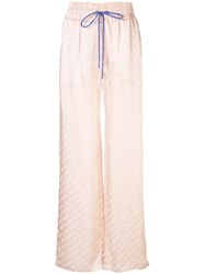 Off White Logo Signature Wide Leg Trousers Pink