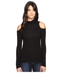 Lanston Cold Shoulder Turtleneck Top Black Women's Clothing
