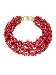 Kenneth Jay Lane Dark Coral Shell Tiered Necklace Gold
