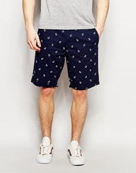 French Connection Anchor Print Chino Shorts Navy