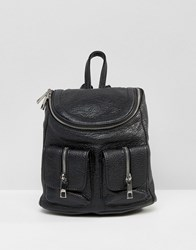 Asos Mini Backpack With Zip Pocket Detail Black