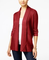 Jm Collection Petites Petite Open Front Ribbed Cardigan Only At Macy's New Red Amore