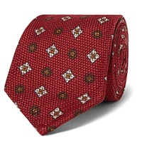 Rubinacci 8Cm Cotton And Silk Blend Jacquard Tie Red