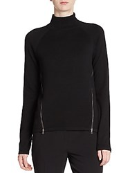 Tahari Broderick Cotton Zip Sweater Black