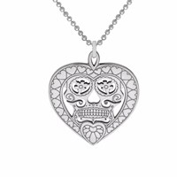 Cartergore Silver Sugar Skull Heart Pendant Necklace