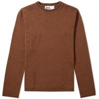 Mhl By Margaret Howell Rolled Edge Crew Knit Brown