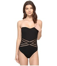 Kenneth Cole Tough Luxe Bandeau Mio Black Women's Swimsuits One Piece