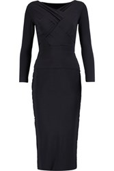 Norma Kamali Cross Front Stretch Jersey Midi Dress Navy