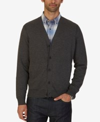Nautica Men's Big And Tall Jersey Cardigan Charcoal Heather