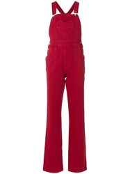 Jour Ne Heart Patch Dungarees Red