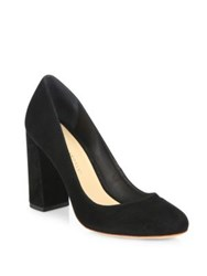 Loeffler Randall Sydnee Leather Block Heel Pumps Black