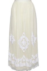 Red Valentino Embellished Point D'esprit Maxi Skirt Ivory