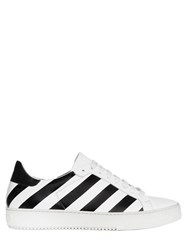 Off White Striped Smooth Leather Sneakers