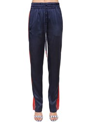 Monse Satin Track Pants W Snap Buttons Blue Red