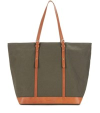 Vanessa Bruno Cabas Medium Leather Trimmed Canvas Shopper Green